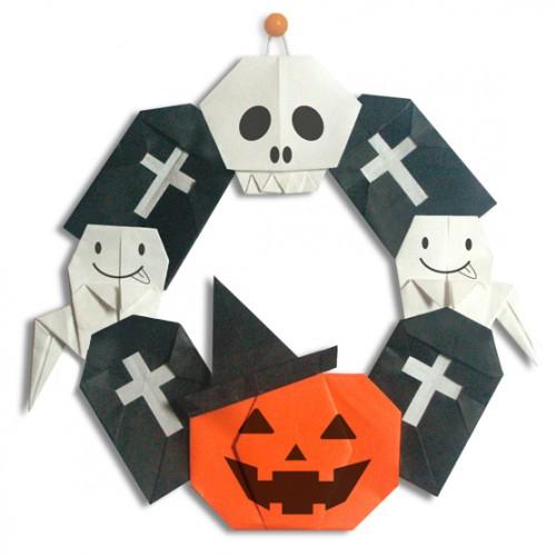すべての折り紙 おばけ 折り紙 折り方 : ハロウィンリースの作り方 ...